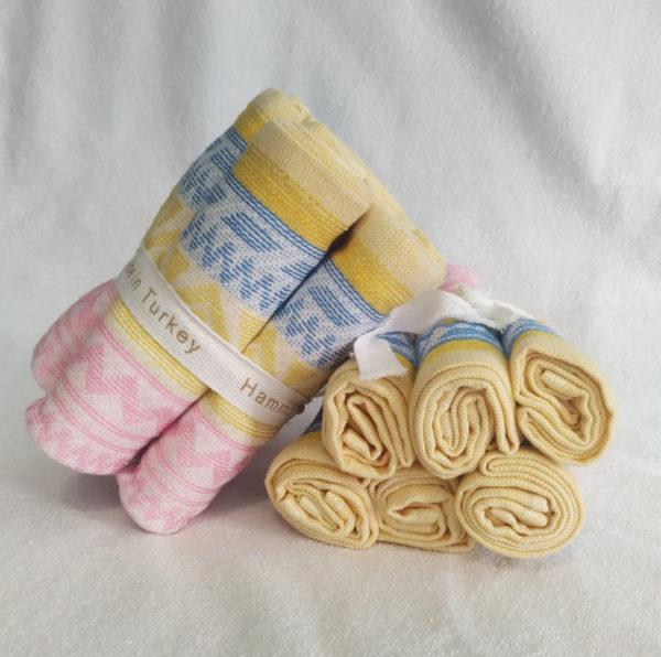 Набор полотенец 30*30 (6шт) Желто-розовый  Кухонные полотенца