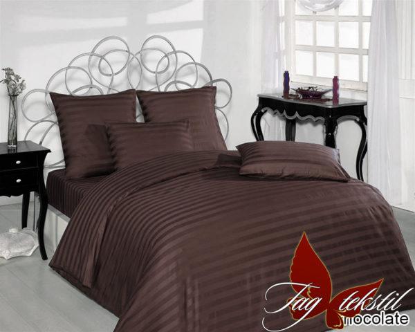 Комплект постельного белья Chocolate  ПОСТЕЛЬНОЕ БЕЛЬЕ ТМ TAG > 2-спальные > Страйп-сатин