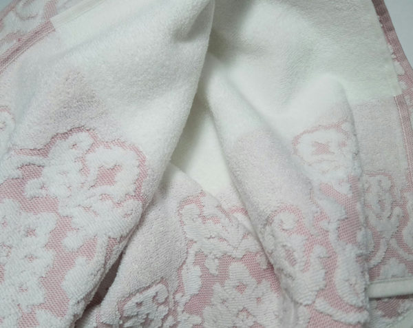 Полотенце жаккард Узор розовое 1 Постельный комплект