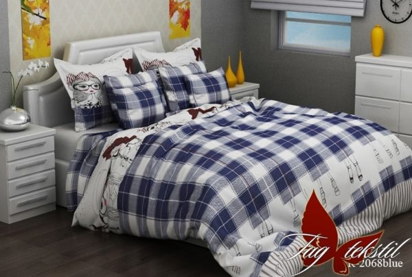 Комплект постельного белья R2068 blue  ПОСТЕЛЬНОЕ БЕЛЬЕ ТМ TAG > 2-спальные > Ренфорс