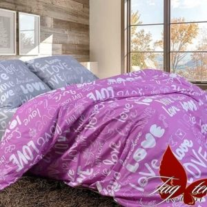 Комплект постельного белья с компаньоном R7207violet  ПОСТЕЛЬНОЕ БЕЛЬЕ ТМ TAG > Семейные > Ренфорс