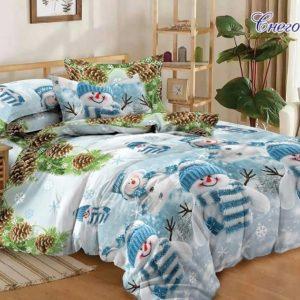 Комплект постельного белья Снеговики  ПОСТЕЛЬНОЕ БЕЛЬЕ ТМ TAG > 2-спальные > Ренфорс