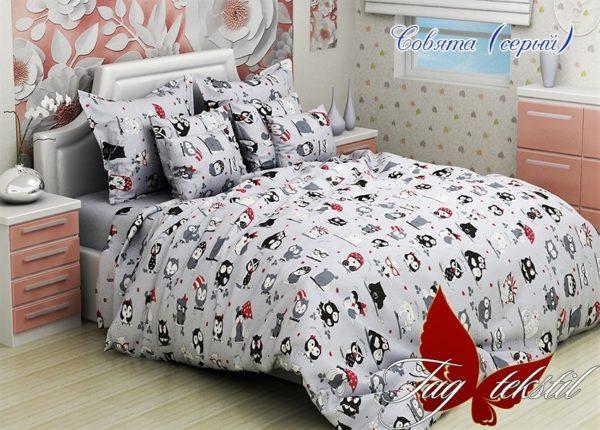 Комплект постельного белья Совята серый  ПОСТЕЛЬНОЕ БЕЛЬЕ И ТОВАРЫ ДЛЯ ДЕТЕЙ > 1.5-спальные 160х220