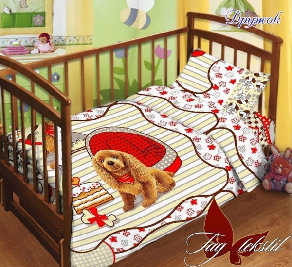 Детский комплект Дружок  ПОСТЕЛЬНОЕ БЕЛЬЕ И ТОВАРЫ ДЛЯ ДЕТЕЙ > Комплекты в кроватку с простынью на резинке