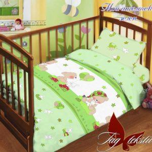 Детский комплект Мой ангелочек зелен.  ПОСТЕЛЬНОЕ БЕЛЬЕ И ТОВАРЫ ДЛЯ ДЕТЕЙ > Комплекты в кроватку с простынью на резинке