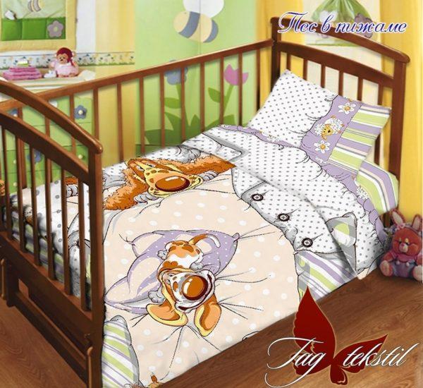 Детский комплект Пес в пижаме  ПОСТЕЛЬНОЕ БЕЛЬЕ И ТОВАРЫ ДЛЯ ДЕТЕЙ > Комплекты в кроватку с простынью на резинке