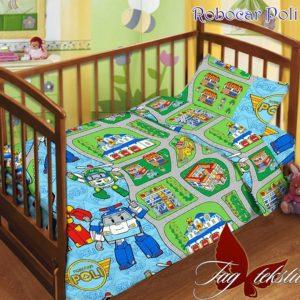Детский комплект Robocar Poli  ПОСТЕЛЬНОЕ БЕЛЬЕ И ТОВАРЫ ДЛЯ ДЕТЕЙ > Комплекты в кроватку с простынью на резинке