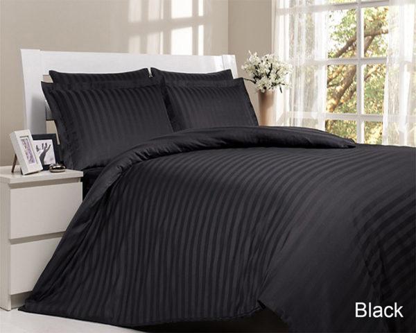 Комплект постельного белья Black  ПОСТЕЛЬНОЕ БЕЛЬЕ ТМ TAG > 2-спальные > Страйп-сатин