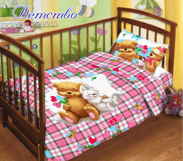 Детский комплект с прост. на резинке Детство  ПОСТЕЛЬНОЕ БЕЛЬЕ И ТОВАРЫ ДЛЯ ДЕТЕЙ > Комплекты в кроватку с простынью на резинке