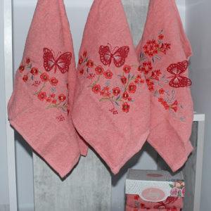 Набор полотенец Lovely персик. (3 шт)  Полотенца > Наборы полотенец