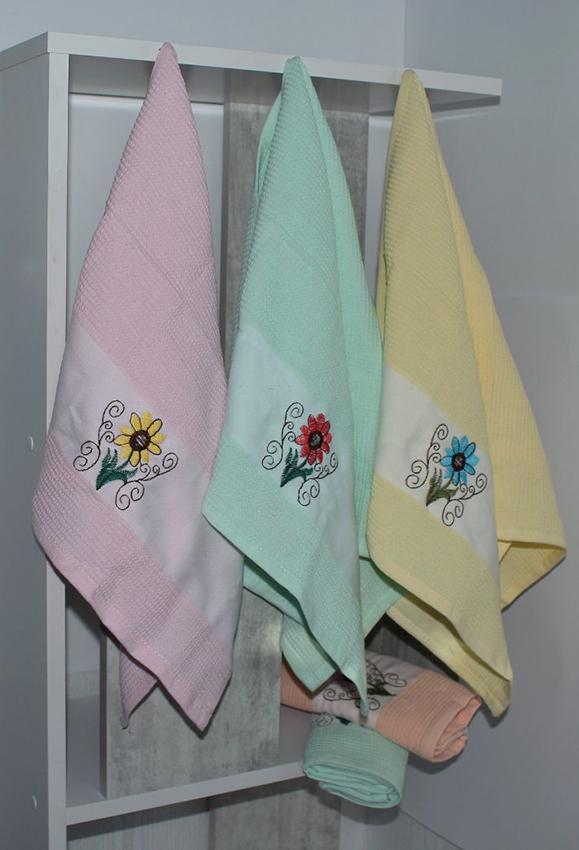 Набор полотенец Цветок 2 (6 шт)  Кухонные полотенца