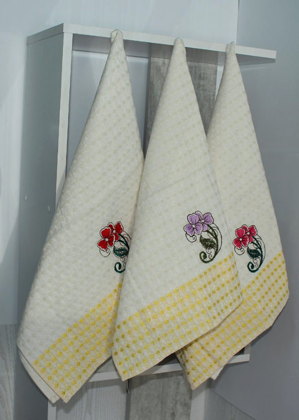 Набор полотенец Цветок/желт. клетка (6 шт)  Кухонные полотенца