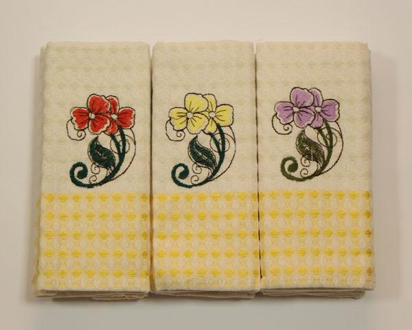 Набор полотенец Цветок/желт. клетка (6 шт) 1 Постельный комплект