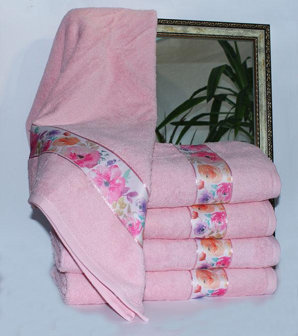 Полотенце махровое Весна розовое цветы 50х90  Полотенца > 50*90 от 1 ед