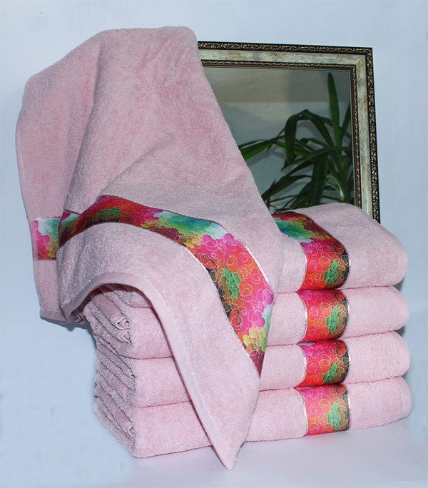 Полотенце махровое Весна розовое сердца 70х140  Полотенца > 70*140 от 1 ед