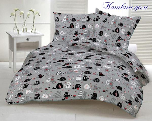 Комплект постельного белья Кошкин дом  ПОСТЕЛЬНОЕ БЕЛЬЕ ТМ TAG > 1.5-спальные > Ренфорс