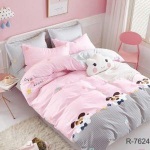 Комплект постельного белья с компаньоном R7624 pink  ПОСТЕЛЬНОЕ БЕЛЬЕ ТМ TAG > 2-спальные > Ренфорс